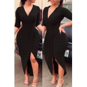 Lovely Chic V Neck Ruffle Design Black Ankle Length Dress