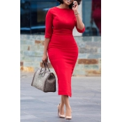 Lovely Chic Skinny Red Mid Calf Dress