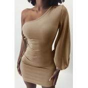 Lovely Chic One Shoulder Bandage Khaki Mini Dress