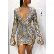 Lovely Party V Neck Gold Mini Dress