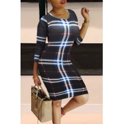 Lovely Casual Plaid Print Black Knee Length Dress