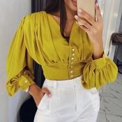 Lovely Work V Neck Ruffle Design Yellow Blouse