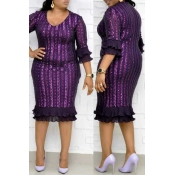 Lovely Trendy Print Flounce Purple Knee Length Plu