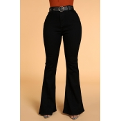 Lovely Casual Flared Black Jeans