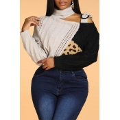 Lovely Leisure Turtleneck Patchwork Black Sweater