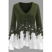Lovely Casual Patchwork Army Green Plus Size Blous