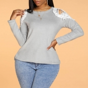 Lovely Casual Hollow-out Grey Blouse