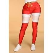 Lovely Leisure Patchwork Skinny Red  Leggings
