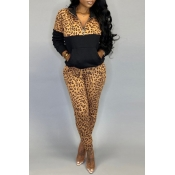 Lovely Leisure Leopard Black Two-piece Pants Set