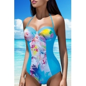 Lovely Bohemian Floral Acid Blue One-piece Swimsuit
