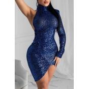 Lovely Casual Asymmetrical Blue Ankle Length Dress