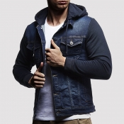 Lovely Casual Hooded Collar Blue Cowboy Wear