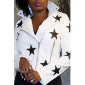 Lovely Casual Star White Coat