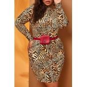 Lovely Casual Turtleneck Leopard Plus Size Mini Dr
