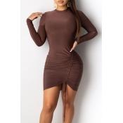 Lovely Trendy O Neck Drawstring Brown Mini Dress