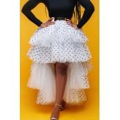 Lovely Sweet Dot Flounce White Cake Skirt Skirt