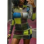 Lovely Chic Color-lump Multicolor Mini Dress