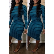 Lovely Casual Striped Blue Knee Length Dress