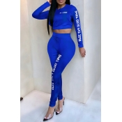 Lovely Casual Letter Print Blue Two-piece Pants Se