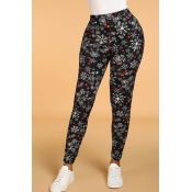 Lovely Casual Print Skinny Black Leggings
