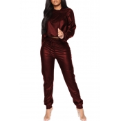 Lovely Leisure Hooded Collar Crop Top Wine Red PU