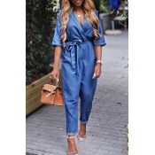 Lovely Casual V Neck Blue One-piece Jumpsuit