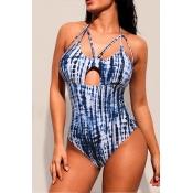 Lovely Skinny Blue One-piece Swimwear