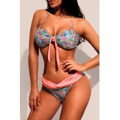 Lovely Patchwork Multicolor Two-piece Swimwear