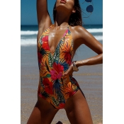 Lovely Print Orange One-piece Swimsuit