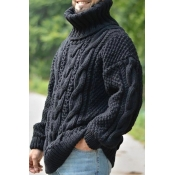 Lovely Casual Turtleneck Black Sweater