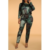 Lovely Casual Camouflage Printed Army Green One-pi