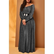 Lovely Casual Loose Silver Plus Size Maxi Dress