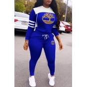 Lovely Casual Hooded Collar Print Blue Two-piece Pants Set