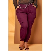 Lovely Chic Pocket Patched Wine Red Pants