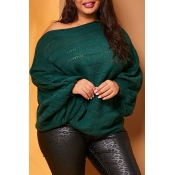 Lovely Chic Hollow-out Blackish Green Plus Size Sw