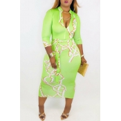 Lovely Trendy V Neck Print Green Mid Calf Dress