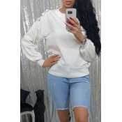 Lovely Casual Drawstring White Sweatshirt Hoodie