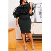 Lovely Sexy Flounce Black Knee Length Plus Size Dr