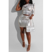 Lovely Trendy One Shoulder Silver Two-piece Skirt Set