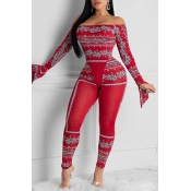 Lovely Casual Print Red One-piece Jumpsuit