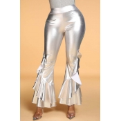 Lovely Trendy Flounce Silver Pants