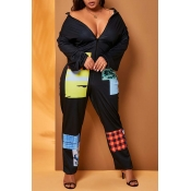 Lovely Casual Patchwork Black Plus Size One-piece