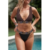 Lovely Print Brown Two-piece Swimsuit