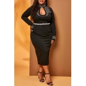 Lovely Sexy Hollow-out Black Mid Calf Plus Size Dr