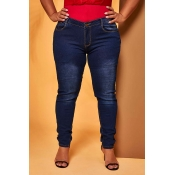 Lovely Casual Skinny Deep Blue Jeans