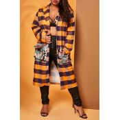Lovely Casual Plaid Print Orange Plus Size Coat