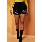 Lovely Trendy Patchwork Black Shorts