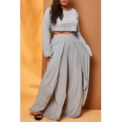 Lovely Trendy Loose Grey Two-piece Pants Set