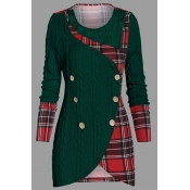 Lovely Casual Patchwork Plaid Green Plus Size Swea