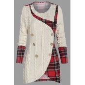 Lovely Casual Patchwork Plaid White Plus Size Swea
